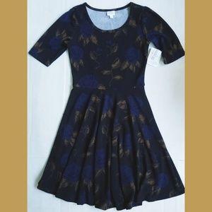 LuLaRoe NICOLE black w blue roses FIT FLARE Dress